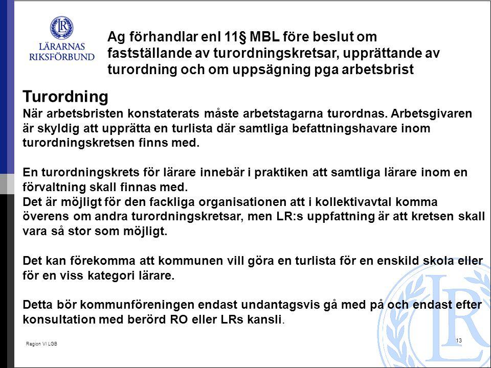 Region VI LGB 13 Ag förhandlar enl 11§ MBL före beslut om fastställande av turordningskretsar, upprättande av turordning och om uppsägning pga arbetsb
