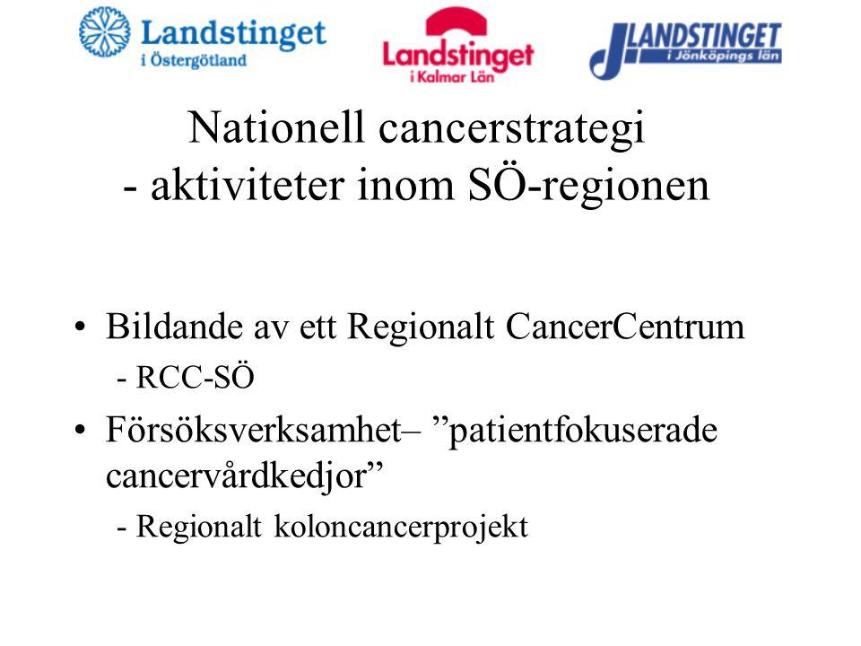 Nationell cancerstrategi - aktiviteter inom SÖ-regionen Bildande av ett Regionalt CancerCentrum - RCC-SÖ Försöksverksamhet– patientfokuserade cancervårdkedjor - Regionalt koloncancerprojekt
