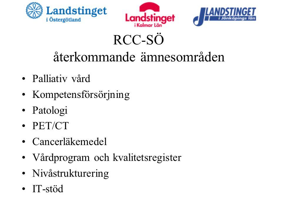 RCC-SÖ återkommande ämnesområden Palliativ vård Kompetensförsörjning Patologi PET/CT Cancerläkemedel Vårdprogram och kvalitetsregister Nivåstrukturering IT-stöd
