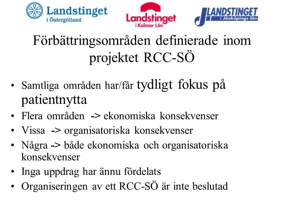 Förbättringsområden definierade inom projektet RCC-SÖ Samtliga områden har/får tydligt fokus på patientnytta Flera områden -> ekonomiska konsekvenser Vissa -> organisatoriska konsekvenser Några -> både ekonomiska och organisatoriska konsekvenser Inga uppdrag har ännu fördelats Organiseringen av ett RCC-SÖ är inte beslutad