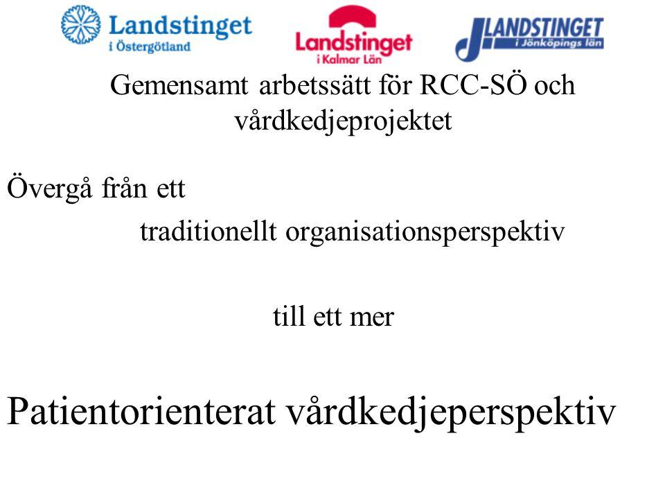 Gemensamt arbetssätt för RCC-SÖ och vårdkedjeprojektet Övergå från ett traditionellt organisationsperspektiv till ett mer Patientorienterat vårdkedjeperspektiv