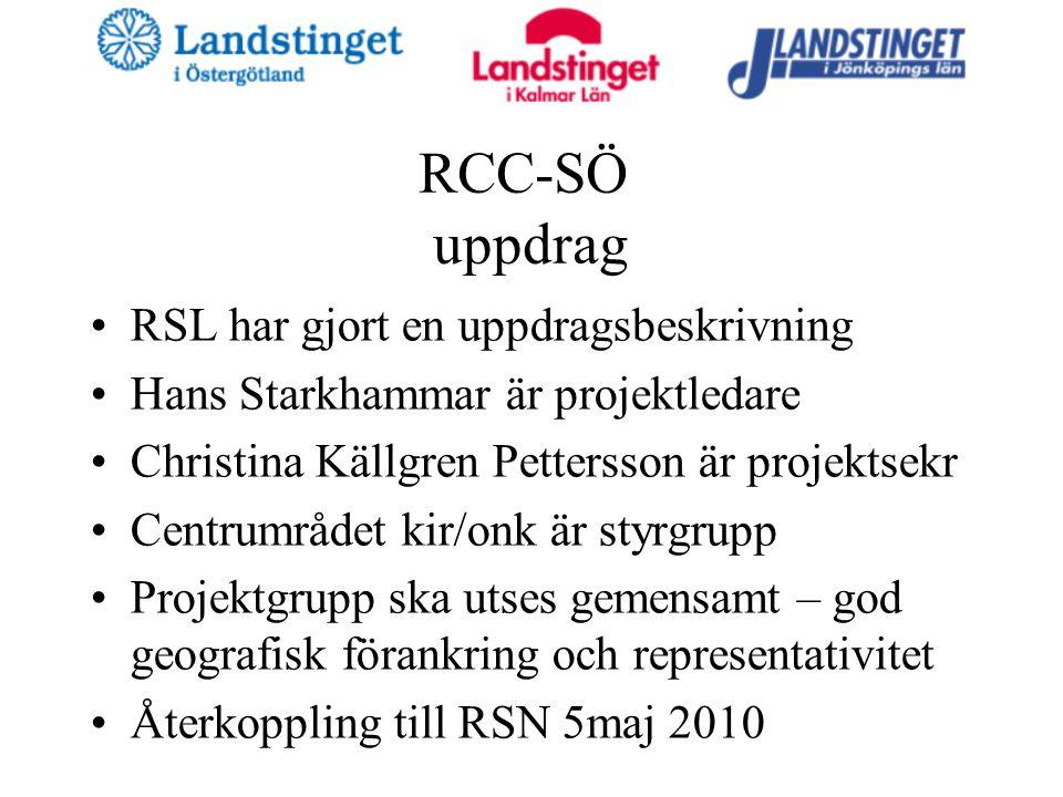 RCC-SÖ uppdrag RSL har gjort en uppdragsbeskrivning Hans Starkhammar är projektledare Christina Källgren Pettersson är projektsekr Centrumrådet kir/onk är styrgrupp Projektgrupp ska utses gemensamt – god geografisk förankring och representativitet Återkoppling till RSN 5maj 2010