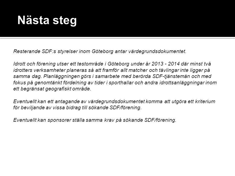 Resterande SDF:s styrelser inom Göteborg antar värdegrundsdokumentet. Idrott och förening utser ett testområde i Göteborg under år 2013 - 2014 där min