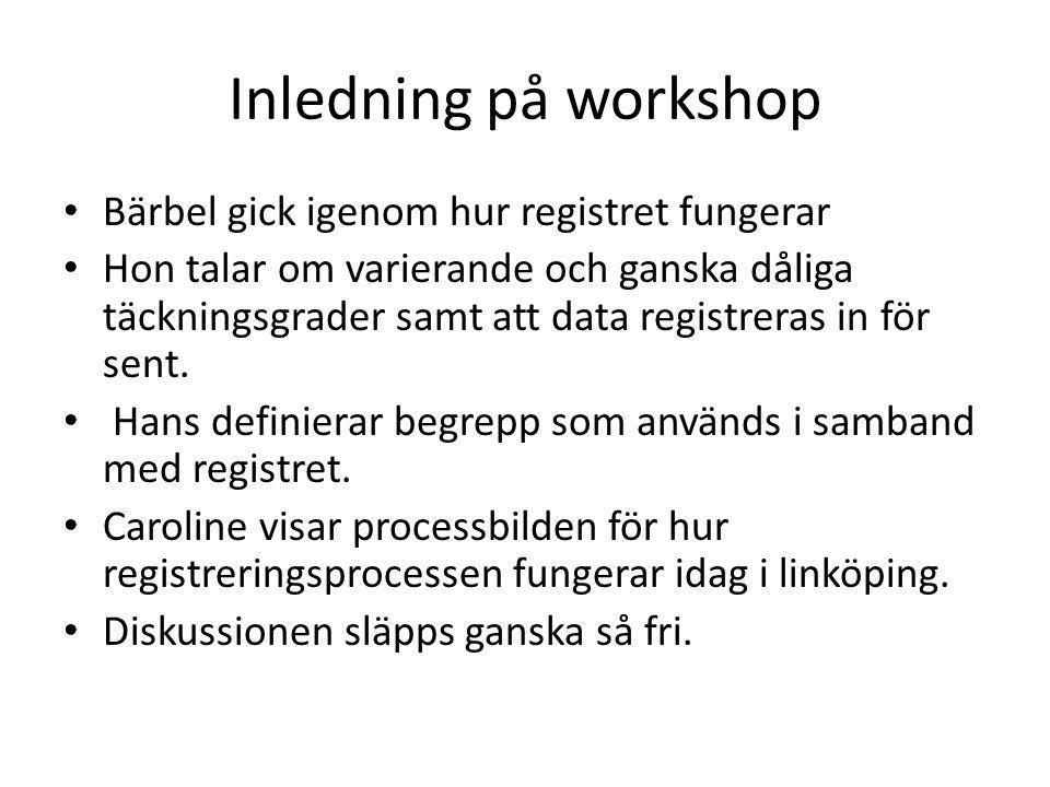 Inledning på workshop Bärbel gick igenom hur registret fungerar Hon talar om varierande och ganska dåliga täckningsgrader samt att data registreras in för sent.