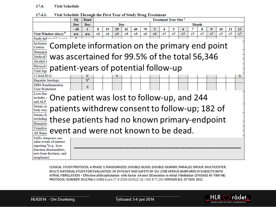 HLR2014 - Om Drunkning Tylösand 3-4 juni 2014 CLINICAL STUDY PROTOCOL A PHASE 3, RANDOMIZED, DOUBLE-BLIND, DOUBLE-DUMMY, PARALLEL GROUP, MULTICENTER, MULTI-NATIONAL STUDY FOR EVALUATION OF EFFICACY AND SAFETY OF DU-176B VERSUS WARFARIN IN SUBJECTS WITH ATRIAL FIBRILLATION – Effective aNticoaGulation with factor xA next GEneration in Atrial Fibrillation (ENGAGE AF-TIMI 48) PROTOCOL NUMBER: DU176b-C-U301 Eudra CT # 2008-004522-16 / IND # 77,254 VERSION 8.0, 07 NOV 2011 Complete information on the primary end point was ascertained for 99.5% of the total 56,346 patient-years of potential follow-up One patient was lost to follow-up, and 244 patients withdrew consent to follow-up; 182 of these patients had no known primary-endpoint event and were not known to be dead.