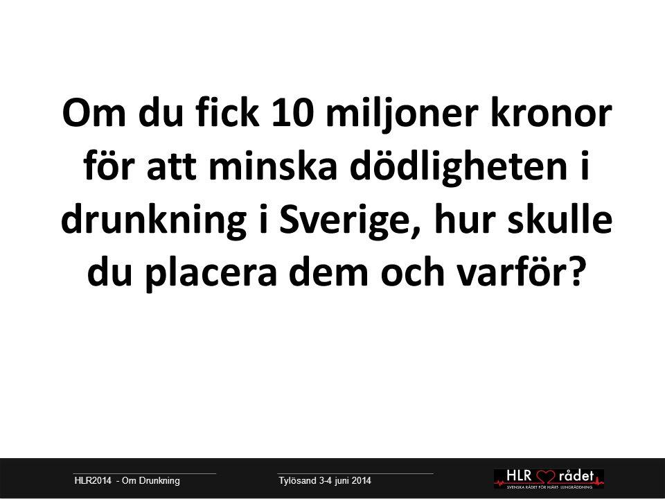 HLR2014 - Om Drunkning Tylösand 3-4 juni 2014 Om du fick 10 miljoner kronor för att minska dödligheten i drunkning i Sverige, hur skulle du placera dem och varför?