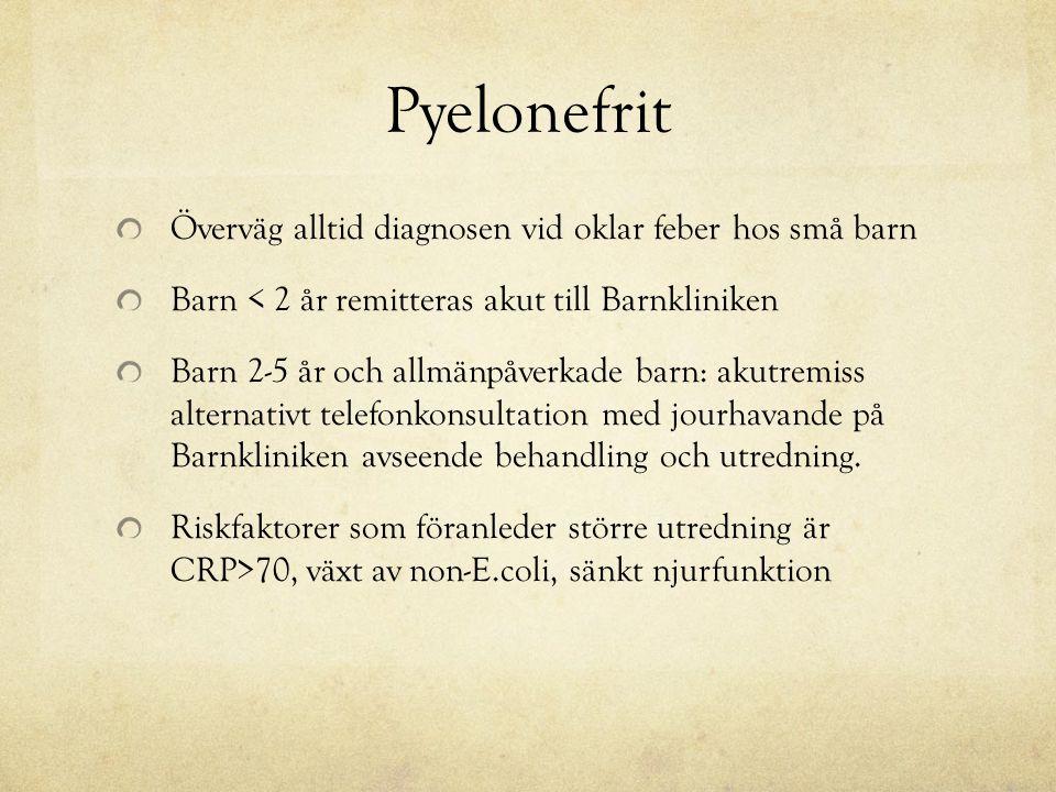 Pyelonefrit Överväg alltid diagnosen vid oklar feber hos små barn Barn < 2 år remitteras akut till Barnkliniken Barn 2-5 år och allmänpåverkade barn: