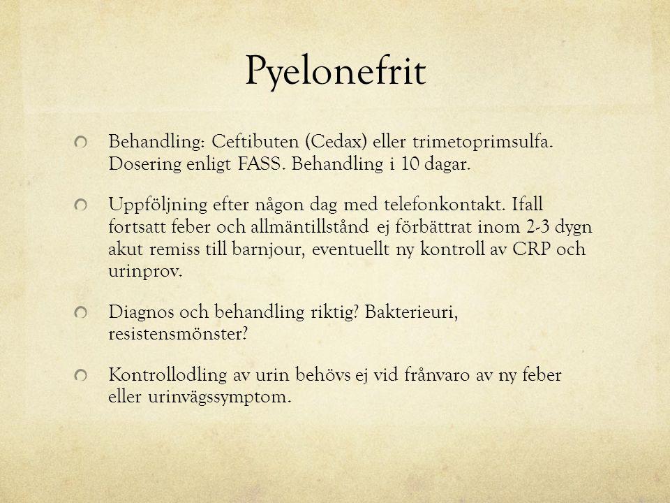 Pyelonefrit Behandling: Ceftibuten (Cedax) eller trimetoprimsulfa. Dosering enligt FASS. Behandling i 10 dagar. Uppföljning efter någon dag med telefo