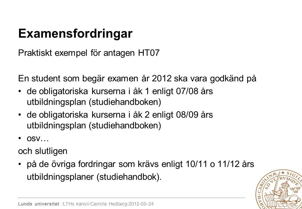 Lunds universitet /LTHs kansli/Camilla Hedberg/2012-05-24 Examensfordringar Praktiskt exempel för antagen HT07 En student som begär examen år 2012 ska