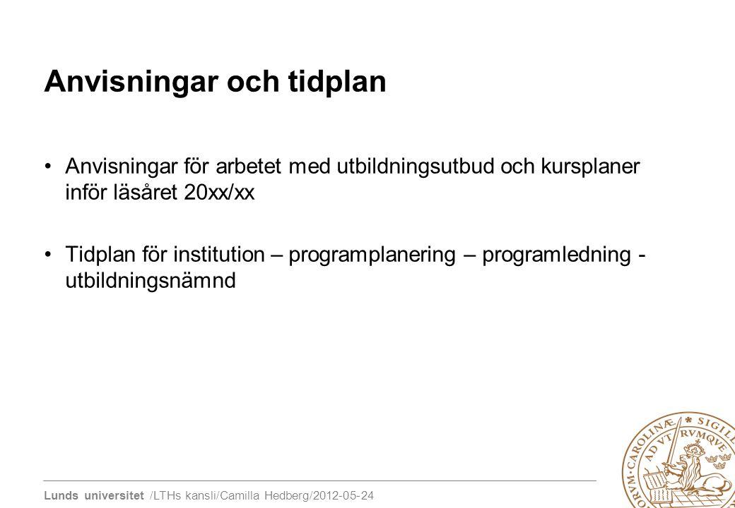 Lunds universitet /LTHs kansli/Camilla Hedberg/2012-05-24 Anvisningar och tidplan Anvisningar för arbetet med utbildningsutbud och kursplaner inför lä