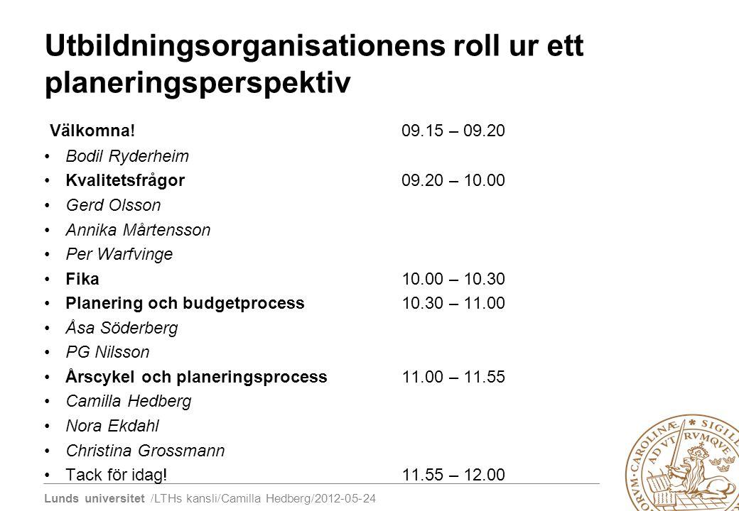 Lunds universitet /LTHs kansli/Camilla Hedberg/2012-05-24 Utbildningsorganisationens roll ur ett planeringsperspektiv Välkomna!09.15 – 09.20 Bodil Ryd