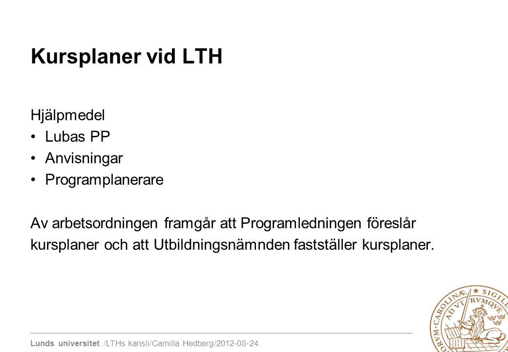 Lunds universitet /LTHs kansli/Camilla Hedberg/2012-05-24 Kursplaner vid LTH Hjälpmedel Lubas PP Anvisningar Programplanerare Av arbetsordningen framg