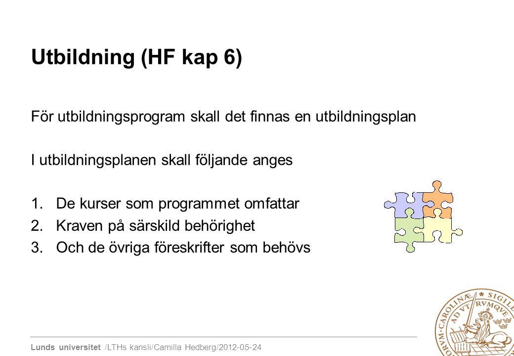 Lunds universitet /LTHs kansli/Camilla Hedberg/2012-05-24 Utbildning (HF kap 6) För utbildningsprogram skall det finnas en utbildningsplan I utbildnin