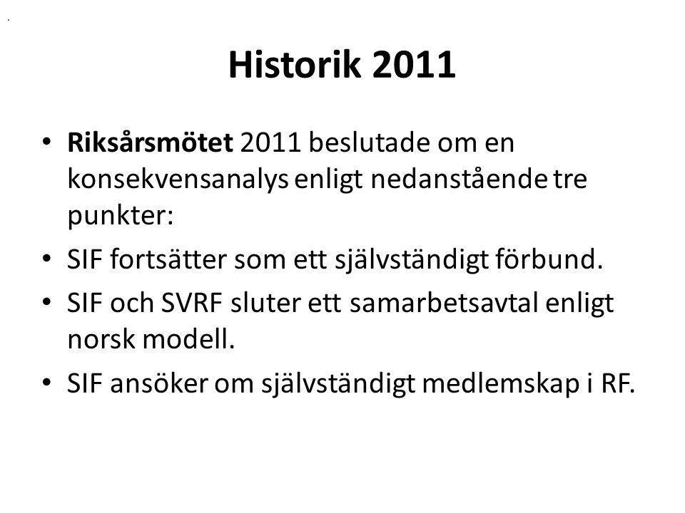 Historik 2011 Riksårsmötet 2011 beslutade om en konsekvensanalys enligt nedanstående tre punkter: SIF fortsätter som ett självständigt förbund.