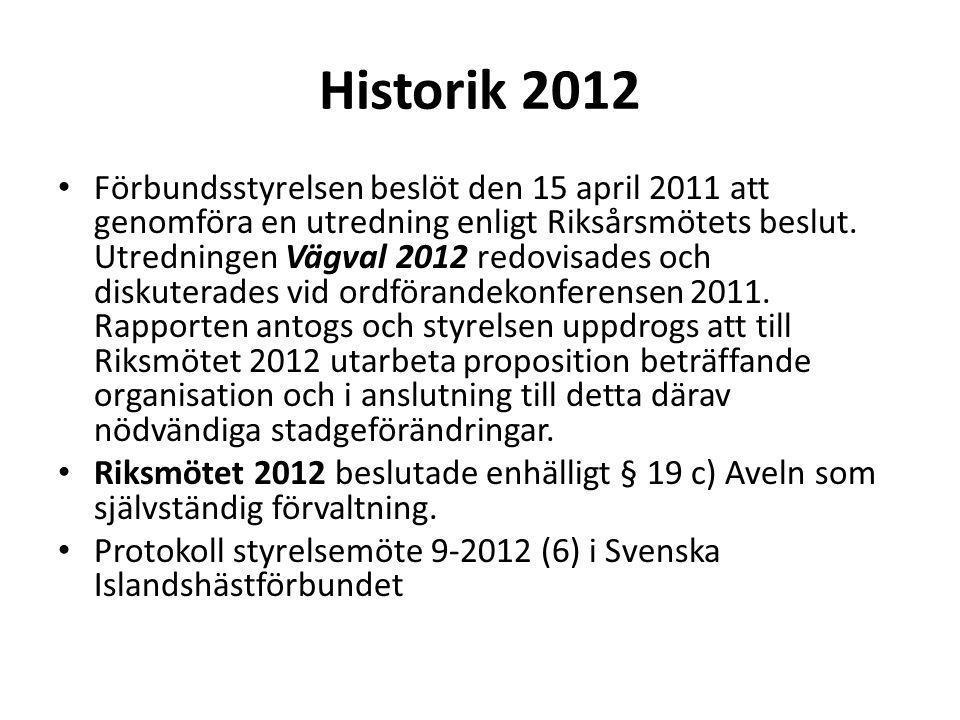 Historik 2012 Förbundsstyrelsen beslöt den 15 april 2011 att genomföra en utredning enligt Riksårsmötets beslut.