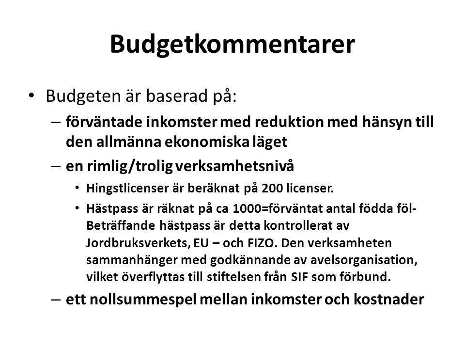 Budgetkommentarer Budgeten är baserad på: – förväntade inkomster med reduktion med hänsyn till den allmänna ekonomiska läget – en rimlig/trolig verksamhetsnivå Hingstlicenser är beräknat på 200 licenser.