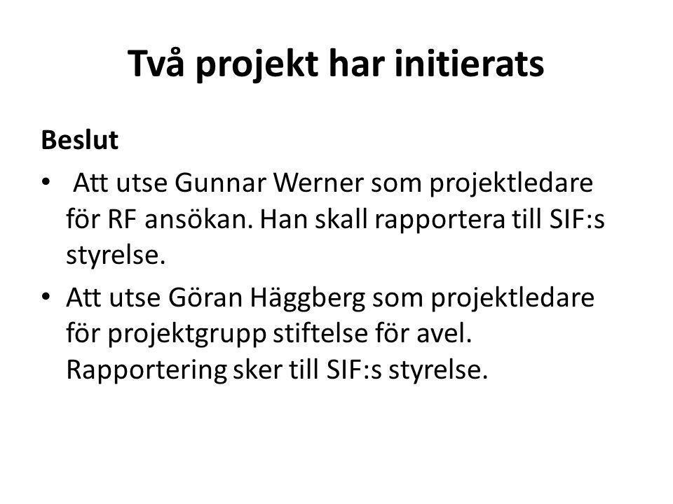 Två projekt har initierats Beslut Att utse Gunnar Werner som projektledare för RF ansökan. Han skall rapportera till SIF:s styrelse. Att utse Göran Hä