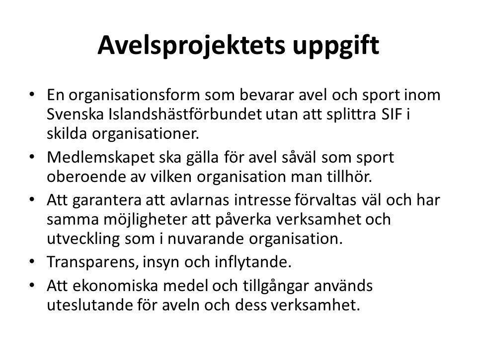 Avelsprojektets uppgift En organisationsform som bevarar avel och sport inom Svenska Islandshästförbundet utan att splittra SIF i skilda organisationer.