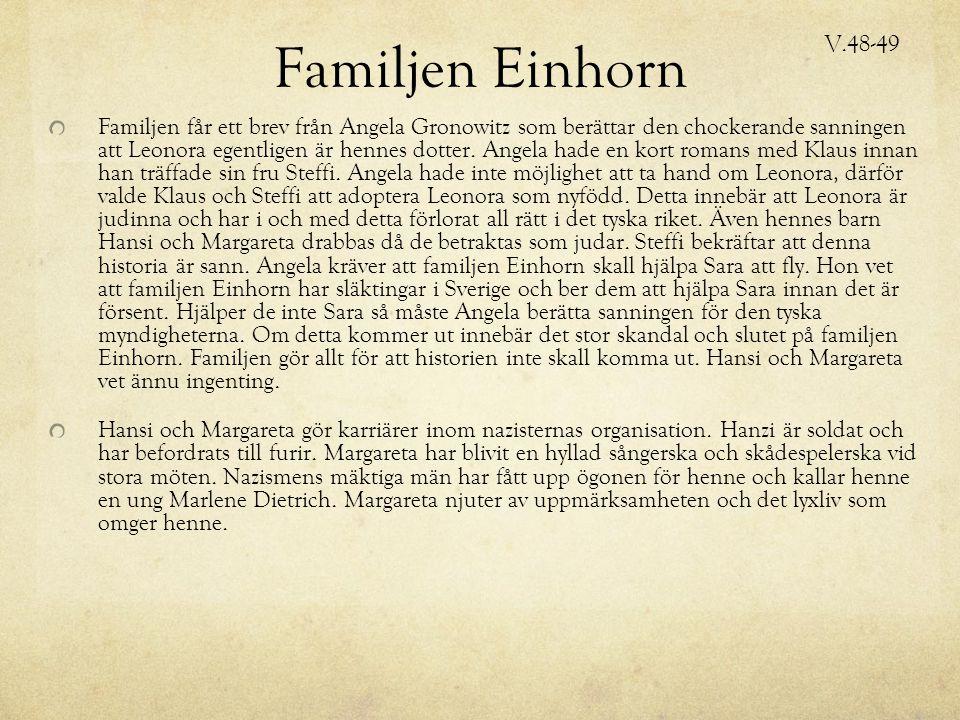 Familjen Einhorn Familjen får ett brev från Angela Gronowitz som berättar den chockerande sanningen att Leonora egentligen är hennes dotter.