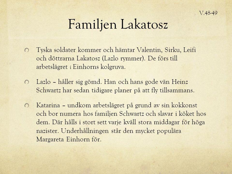 Familjen Lakatosz Tyska soldater kommer och hämtar Valentin, Sirku, Leifi och döttrarna Lakatosz (Lazlo rymmer).