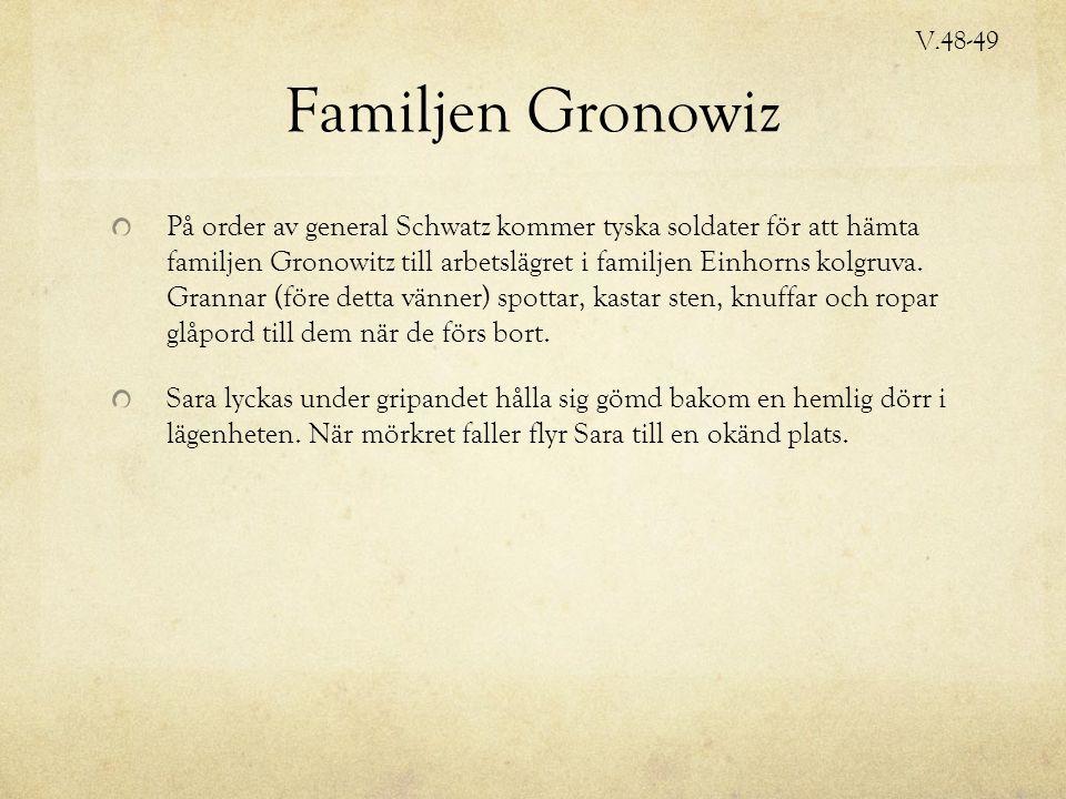 Familjen Gronowiz På order av general Schwatz kommer tyska soldater för att hämta familjen Gronowitz till arbetslägret i familjen Einhorns kolgruva.