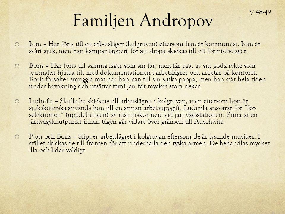 Familjen Andropov Ivan – Har förts till ett arbetsläger (kolgruvan) eftersom han är kommunist.