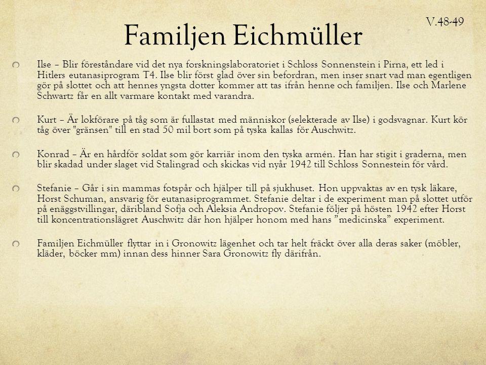 Familjen Eichmüller Ilse – Blir föreståndare vid det nya forskningslaboratoriet i Schloss Sonnenstein i Pirna, ett led i Hitlers eutanasiprogram T4.