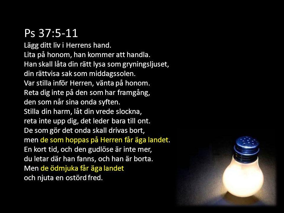 Ps 37:5-11 Lägg ditt liv i Herrens hand. Lita på honom, han kommer att handla. Han skall låta din rätt lysa som gryningsljuset, din rättvisa sak som m