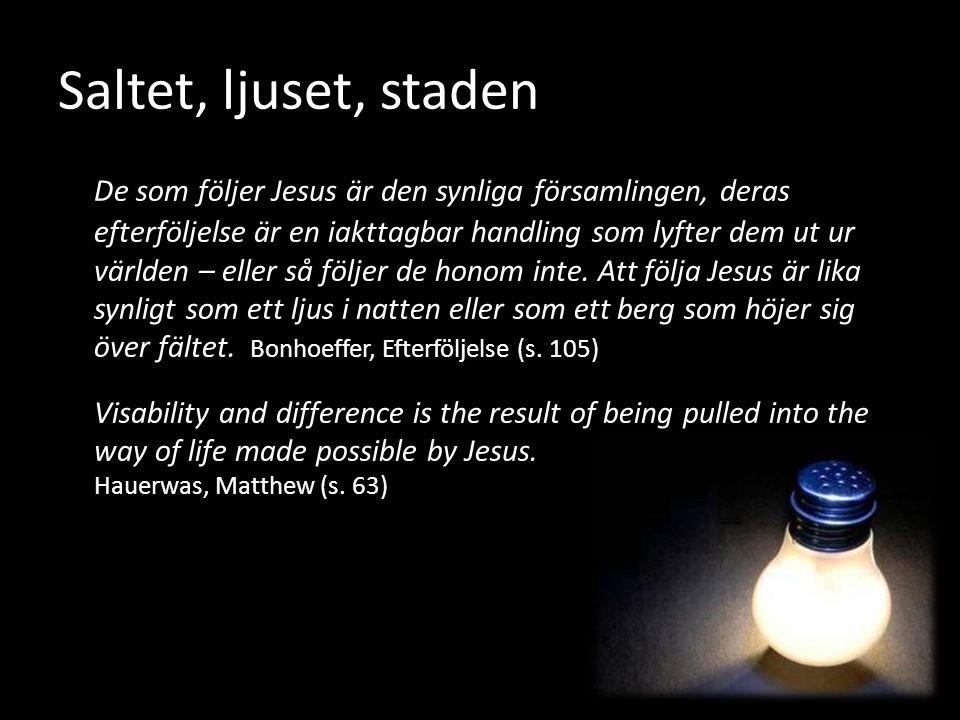 Saltet, ljuset, staden De som följer Jesus är den synliga församlingen, deras efterföljelse är en iakttagbar handling som lyfter dem ut ur världen – e