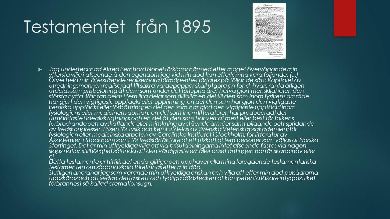Testamentet från 1895  Jag undertecknad Alfred Bernhard Nobel förklarar härmed efter moget övervägande min yttersta vilja i afseende å den egendom ja