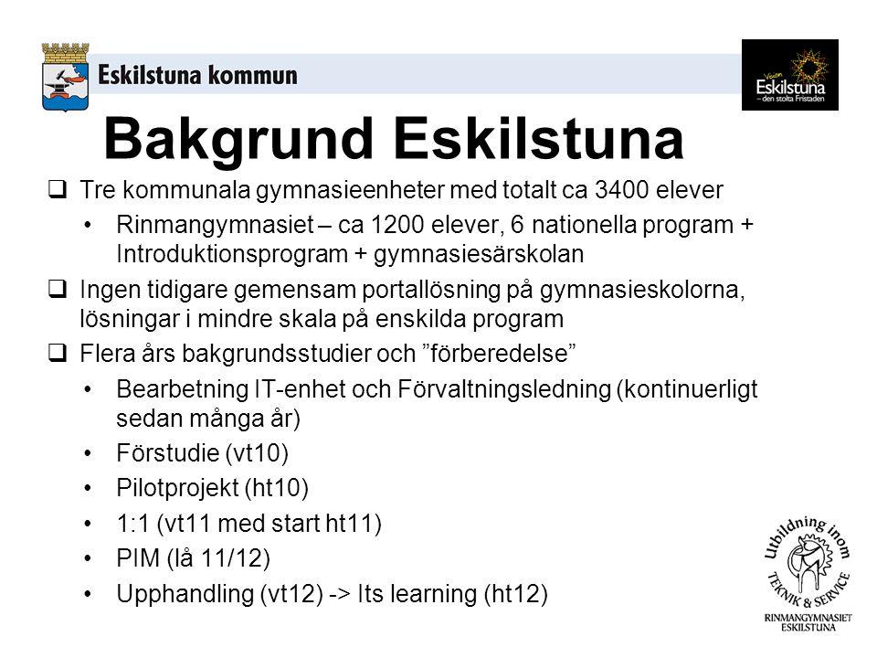 Bakgrund Eskilstuna  Tre kommunala gymnasieenheter med totalt ca 3400 elever Rinmangymnasiet – ca 1200 elever, 6 nationella program + Introduktionsprogram + gymnasiesärskolan  Ingen tidigare gemensam portallösning på gymnasieskolorna, lösningar i mindre skala på enskilda program  Flera års bakgrundsstudier och förberedelse Bearbetning IT-enhet och Förvaltningsledning (kontinuerligt sedan många år) Förstudie (vt10) Pilotprojekt (ht10) 1:1 (vt11 med start ht11) PIM (lå 11/12) Upphandling (vt12) -> Its learning (ht12)