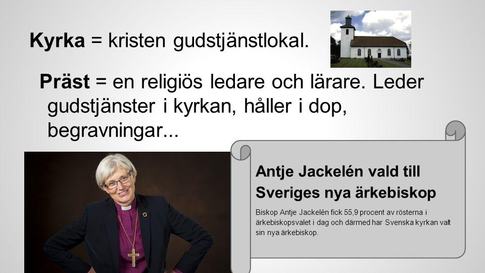 Kyrka = kristen gudstjänstlokal.Präst = en religiös ledare och lärare.