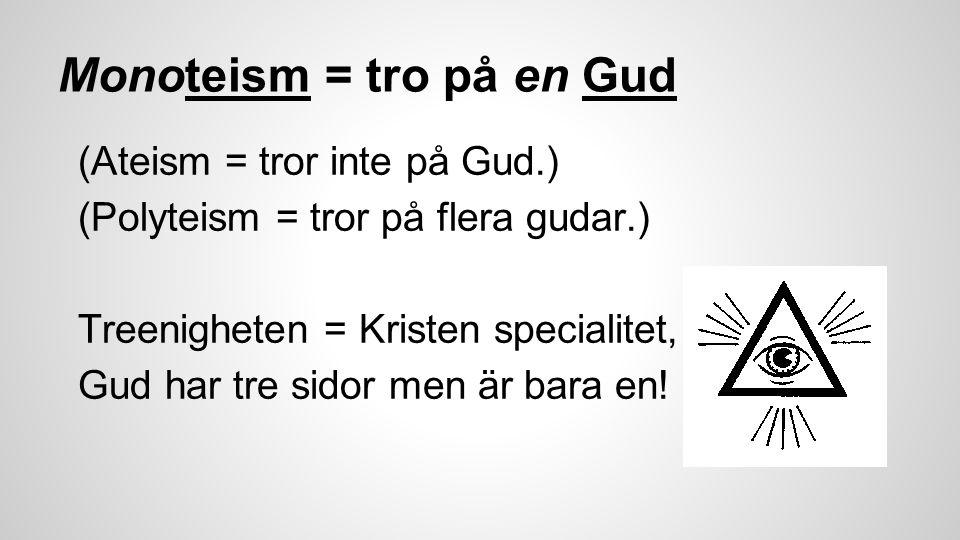 Monoteism = tro på en Gud (Ateism = tror inte på Gud.) (Polyteism = tror på flera gudar.) Treenigheten = Kristen specialitet, Gud har tre sidor men är