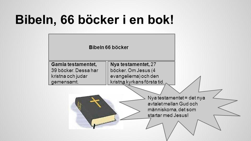 Bibeln, 66 böcker i en bok! Bibeln 66 böcker Gamla testamentet, 39 böcker. Dessa har kristna och judar gemensamt. Nya testamentet, 27 böcker. Om Jesus
