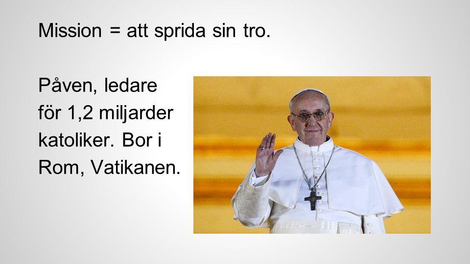 Mission = att sprida sin tro. Påven, ledare för 1,2 miljarder katoliker. Bor i Rom, Vatikanen.