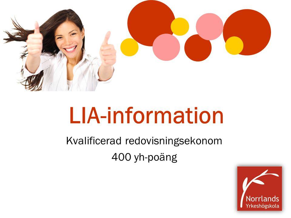 LIA-information Kvalificerad redovisningsekonom 400 yh-poäng