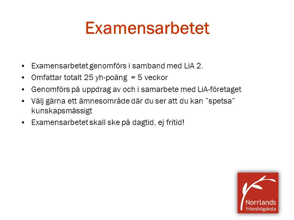 Examensarbetet Examensarbetet genomförs i samband med LiA 2. Omfattar totalt 25 yh-poäng = 5 veckor Genomförs på uppdrag av och i samarbete med LiA-fö