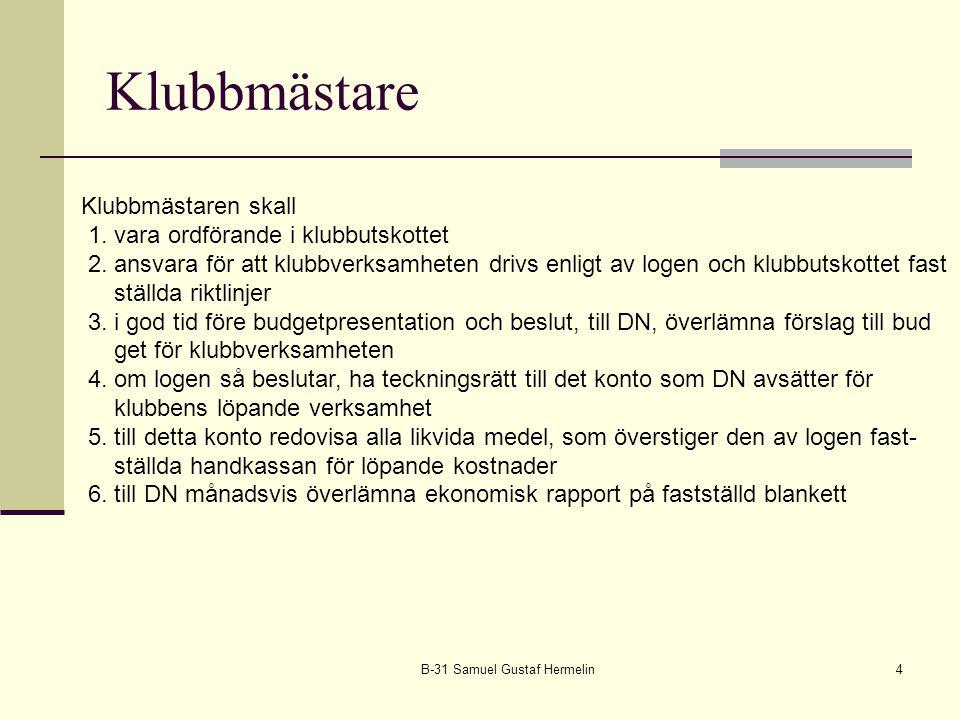 Klubbmästare B-31 Samuel Gustaf Hermelin4 Klubbmästaren skall 1. vara ordförande i klubbutskottet 2. ansvara för att klubbverksamheten drivs enligt av