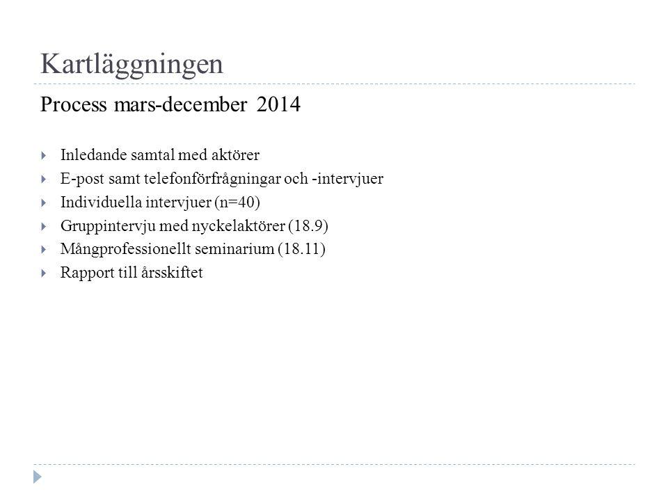 Kartläggningen Process mars-december 2014  Inledande samtal med aktörer  E-post samt telefonförfrågningar och -intervjuer  Individuella intervjuer (n=40)  Gruppintervju med nyckelaktörer (18.9)  Mångprofessionellt seminarium (18.11)  Rapport till årsskiftet