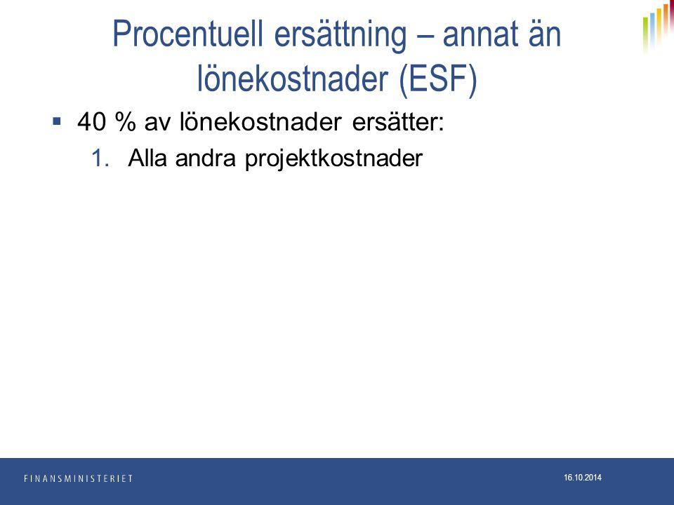 Procentuell ersättning – annat än lönekostnader (ESF)  40 % av lönekostnader ersätter: 1.Alla andra projektkostnader 16.10.2014