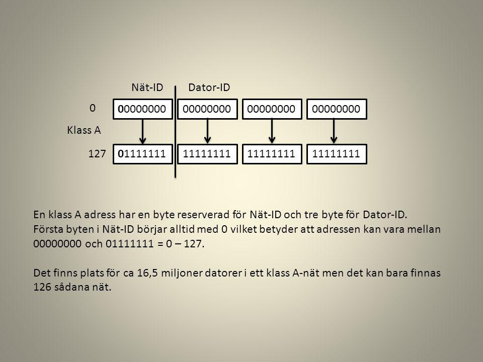 00000000 01111111 00000000 11111111 00000000 11111111 00000000 11111111 Klass A 0 127 Nät-ID Dator-ID En klass A adress har en byte reserverad för Nät-ID och tre byte för Dator-ID.