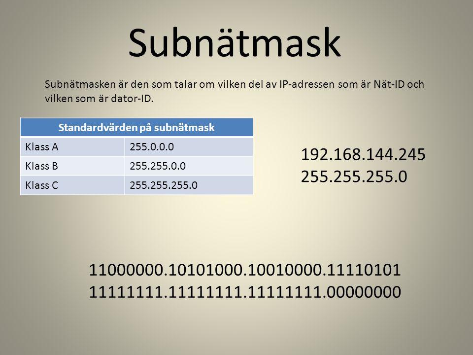 Subnätmask Subnätmasken är den som talar om vilken del av IP-adressen som är Nät-ID och vilken som är dator-ID.