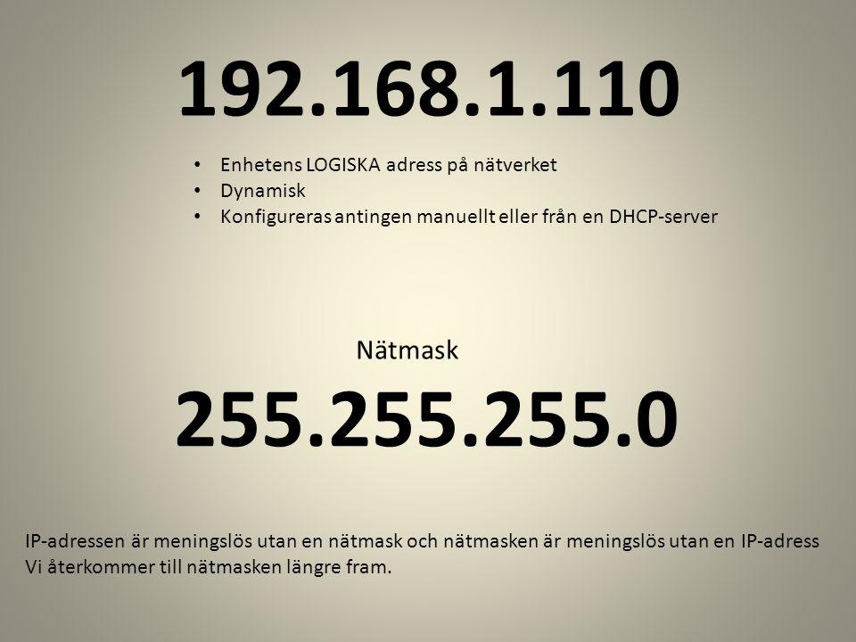 255.255.255.0 Enhetens LOGISKA adress på nätverket Dynamisk Konfigureras antingen manuellt eller från en DHCP-server Nätmask IP-adressen är meningslös