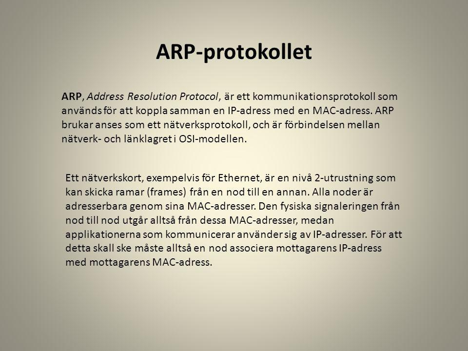 ARP-protokollet ARP, Address Resolution Protocol, är ett kommunikationsprotokoll som används för att koppla samman en IP-adress med en MAC-adress. ARP