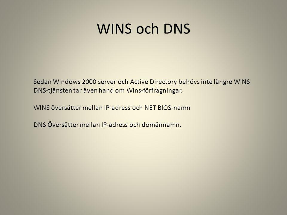 WINS och DNS Sedan Windows 2000 server och Active Directory behövs inte längre WINS DNS-tjänsten tar även hand om Wins-förfrågningar. WINS översätter