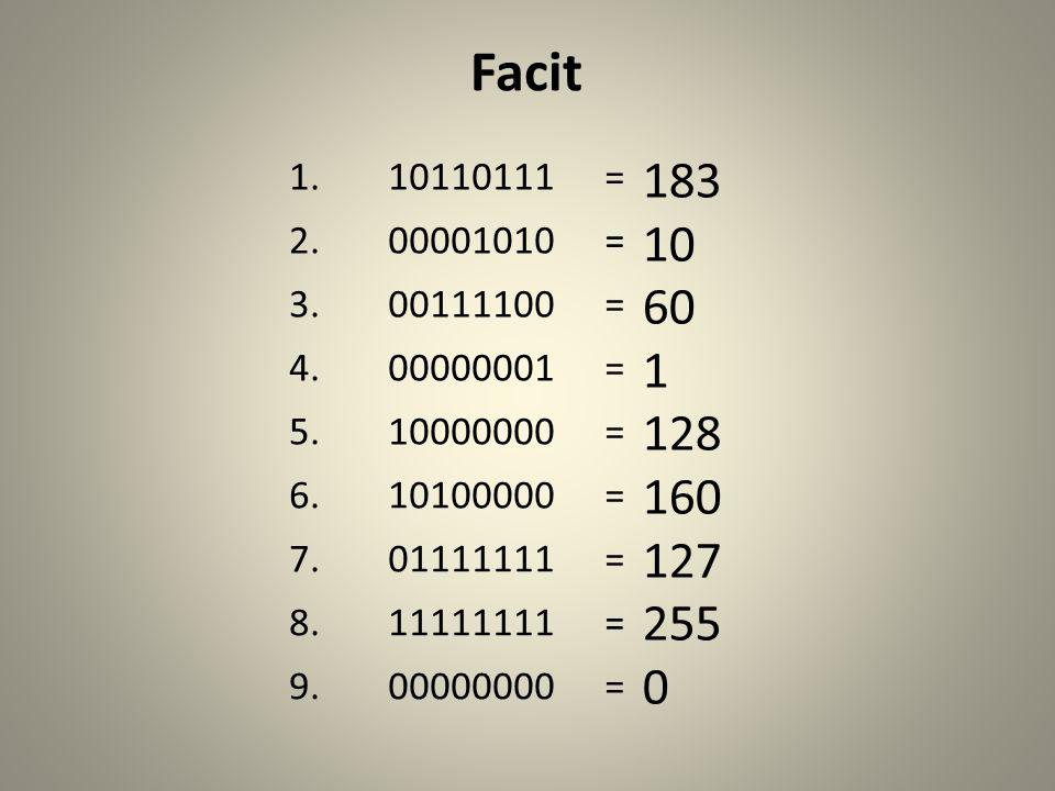 Facit 1.10110111= 2.00001010= 3.00111100= 4.00000001= 5.10000000= 6.10100000= 7.01111111= 8.11111111= 9.00000000= 183 10 60 1 128 160 127 255 0