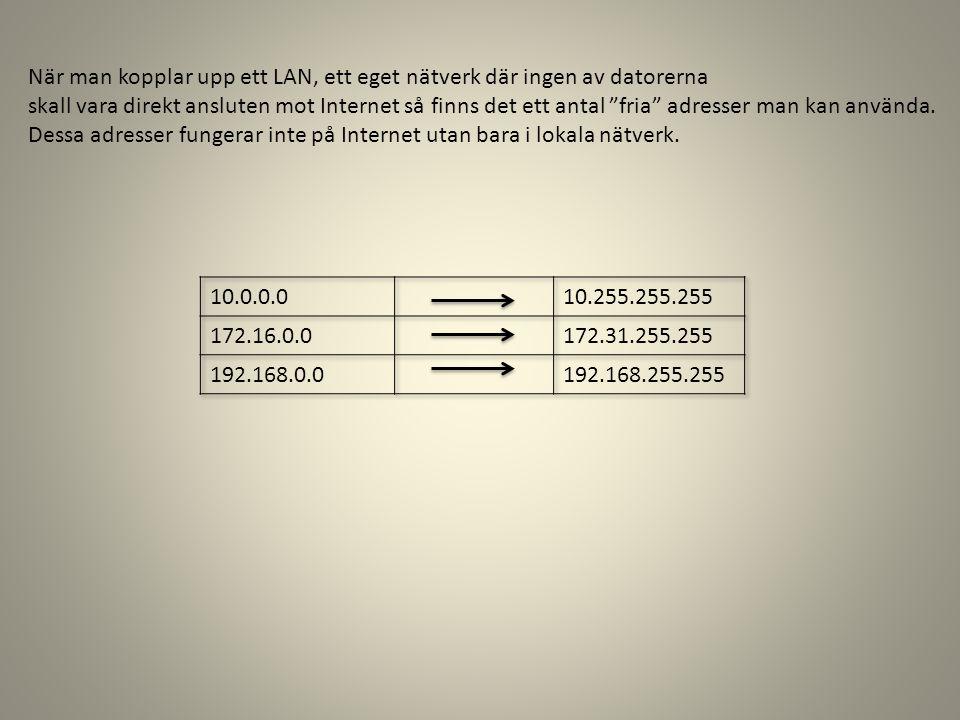 När man kopplar upp ett LAN, ett eget nätverk där ingen av datorerna skall vara direkt ansluten mot Internet så finns det ett antal fria adresser man kan använda.