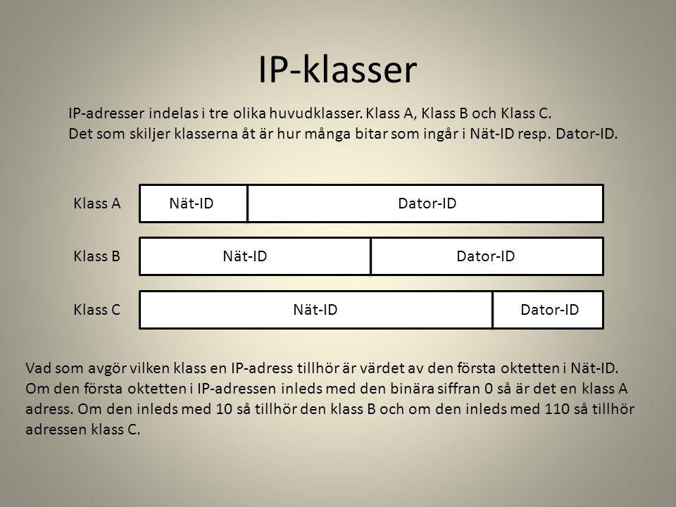 IP-klasser IP-adresser indelas i tre olika huvudklasser. Klass A, Klass B och Klass C. Det som skiljer klasserna åt är hur många bitar som ingår i Nät