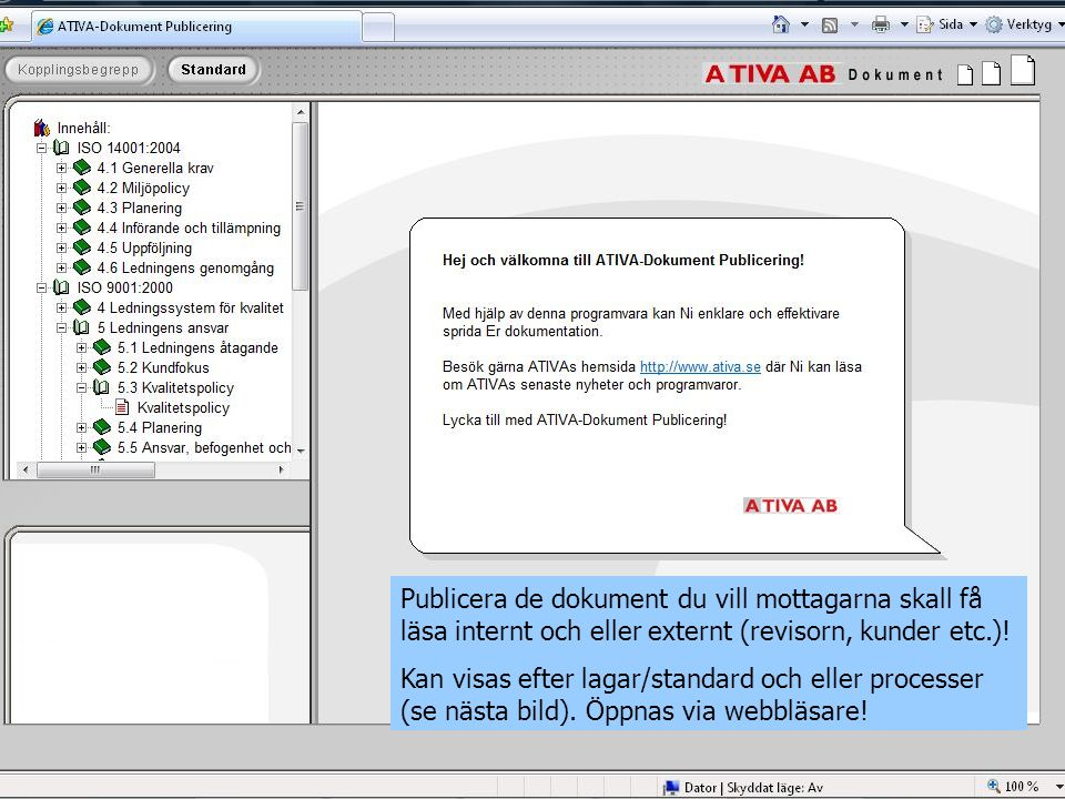 Publicera de dokument du vill mottagarna skall få läsa internt och eller externt (revisorn, kunder etc.).