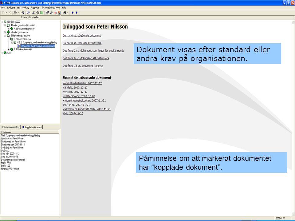 Dokument visas efter standard eller andra krav på organisationen.